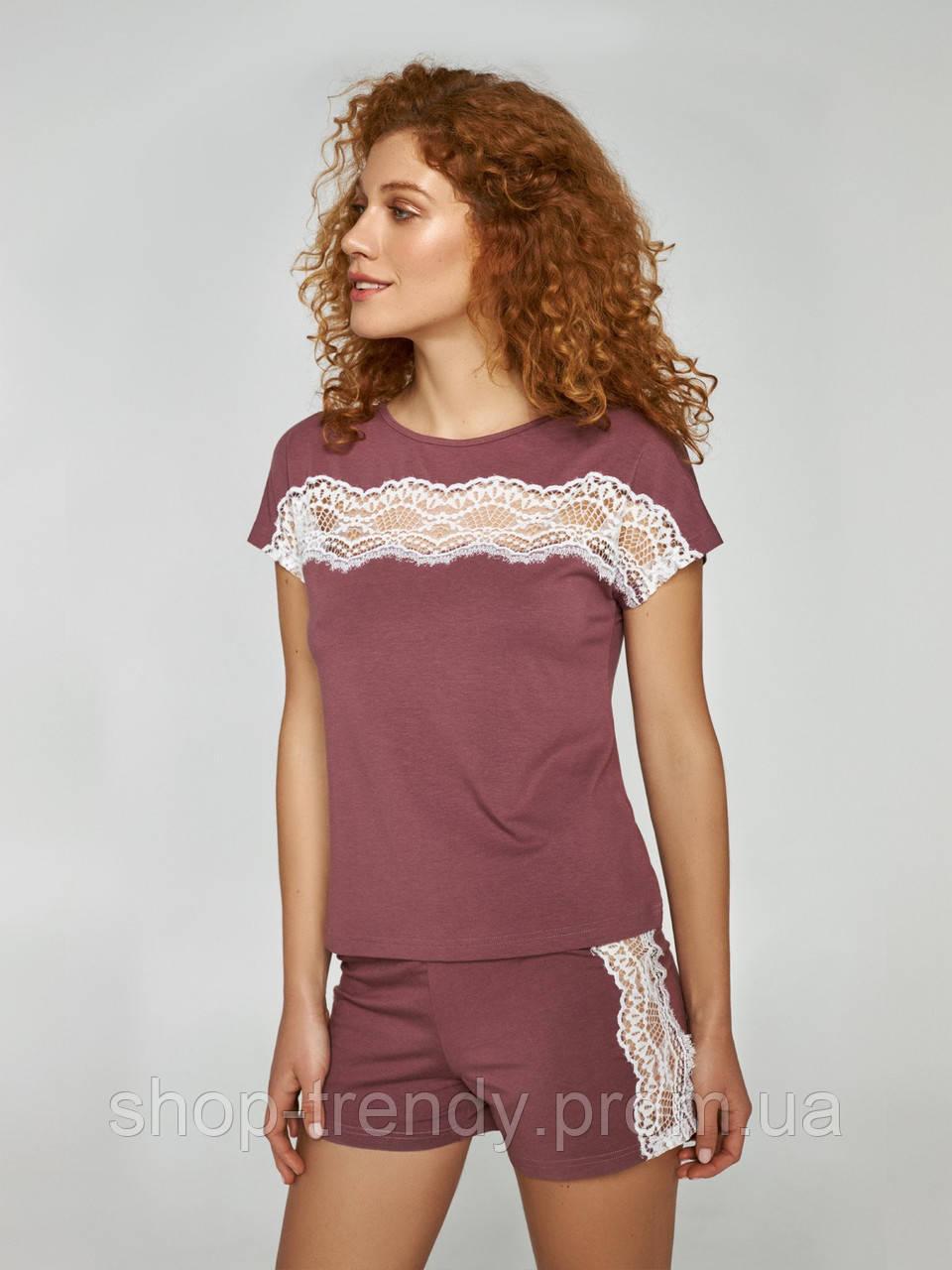 Женская пижама (футболка и шорты) из хлопка Ellen
