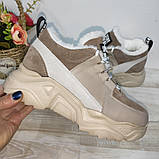Зимові з натуральної шкіри жіночі кросівки арт 9022 чорні,бежеві MARCCO., фото 10