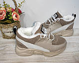 Зимові з натуральної шкіри жіночі кросівки арт 9022 чорні,бежеві MARCCO., фото 9