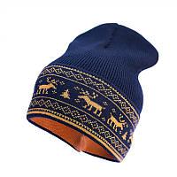 Шапка-бини из шерсти мериноса СОФИЯ (размер 44-48, темно-синий с оленями)