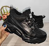 Зимові з натуральної шкіри жіночі кросівки арт 9022 чорні,бежеві MARCCO., фото 6