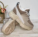 Зимові з натуральної шкіри жіночі кросівки арт 9022 чорні,бежеві MARCCO., фото 2