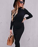Платье женское с длинным рукавом чёрный, белый, кэмел 42-44,44-46