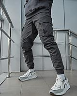 Теплые брюки карго мужские Пушка Огонь Slot графит, фото 1
