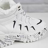Кросівки жіночі зимові чоботи Ideal A79 на шнурівці повсякденні, білі на осінь-зиму. 36 - 41 р., фото 6