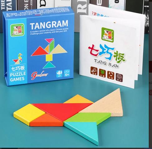 Логическая игра ТАНГРАМ с множеством образцов для сборки.