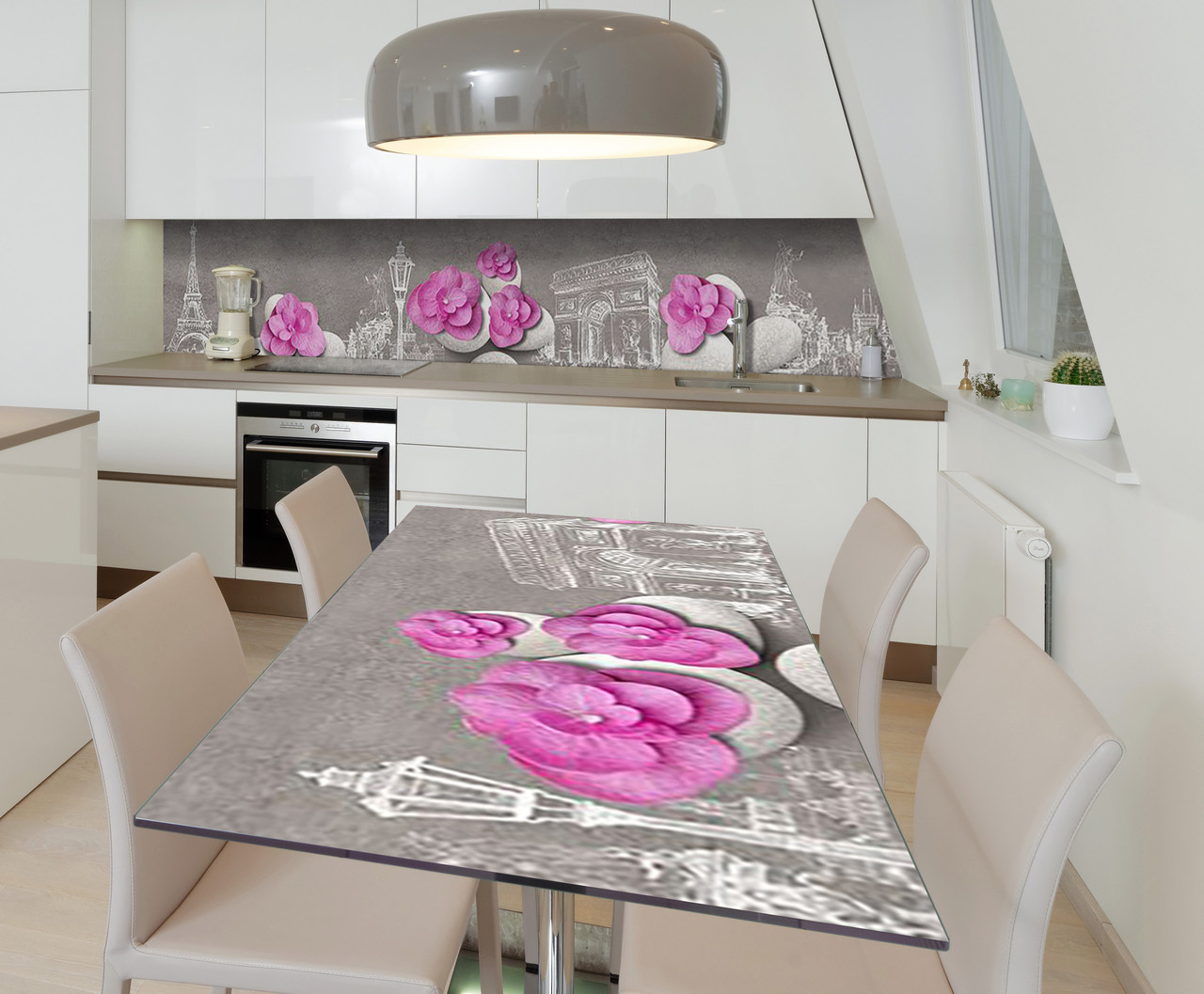 Наклейка 3Д виниловая на стол Zatarga «Розовые лепестки на камнях» 650х1200 мм для домов, квартир, столов,