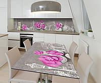 Наклейка 3Д виниловая на стол Zatarga «Розовые лепестки на камнях» 650х1200 мм для домов, квартир, столов,, фото 1