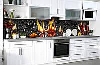 "Скинали на кухню Zatarga  ""Горящий Виски""  600х2500 мм виниловая 3Д наклейка кухонный фартук самоклеящаяся, фото 1"