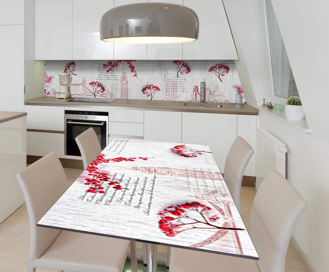 Наклейка 3Д виниловая на стол Zatarga «Калина Лондон» 650х1200 мм для домов, квартир, столов, кофейн,