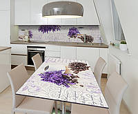 Наклейка 3Д виниловая на стол Zatarga «Цветы Лаванды Кофе» 600х1200 мм для домов, квартир, столов, для, фото 1