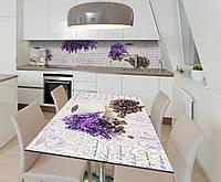 Наклейка 3Д виниловая на стол Zatarga «Цветы Лаванды Кофе» 650х1200 мм для домов, квартир, столов, для, фото 1
