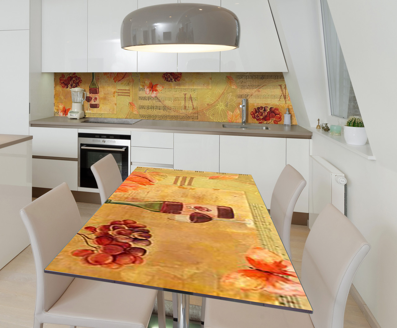 Наклейка 3Д виниловая на стол Zatarga «Музыка Ноты» 650х1200 мм для домов, квартир, столов, кофейн,