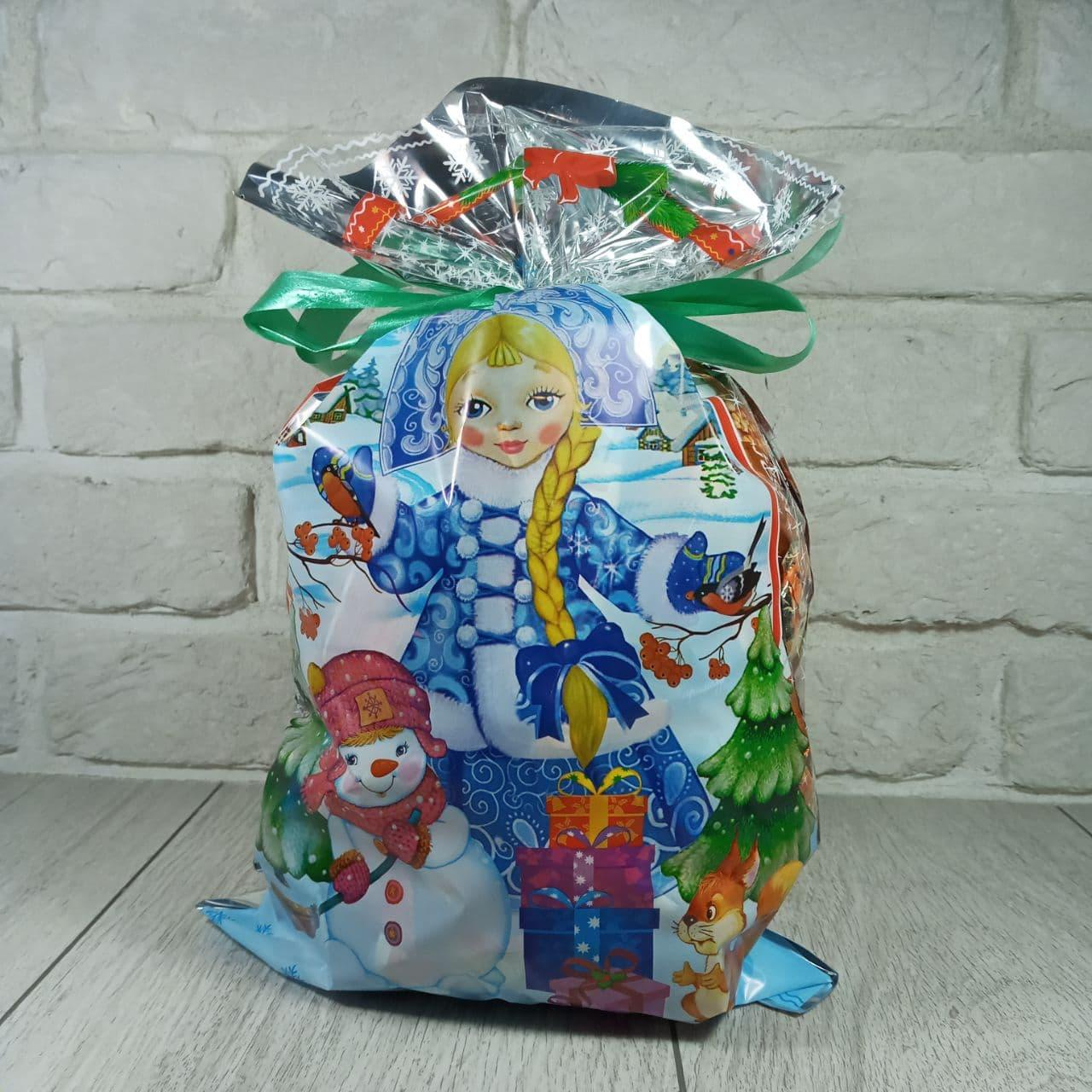 Новогодняя подарочная упаковка для конфет 25см 40см Снегурочка и снеговик (100 шт)