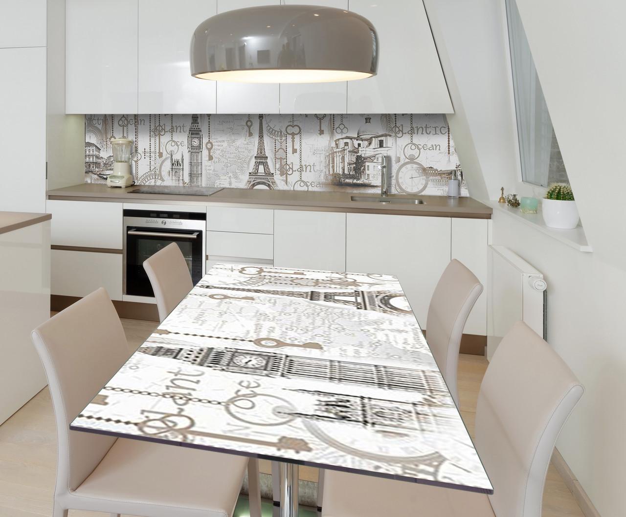 Наклейка 3Д виниловая на стол Zatarga «Культура» 650х1200 мм для домов, квартир, столов, кофейн, кафе