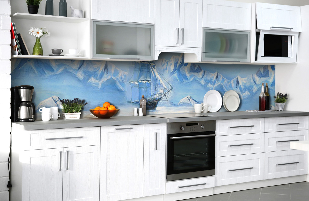 """Скинали на кухню Zatarga  """"Ледяное Море Корабль""""  600х2500 мм виниловая 3Д наклейка кухонный фартук"""