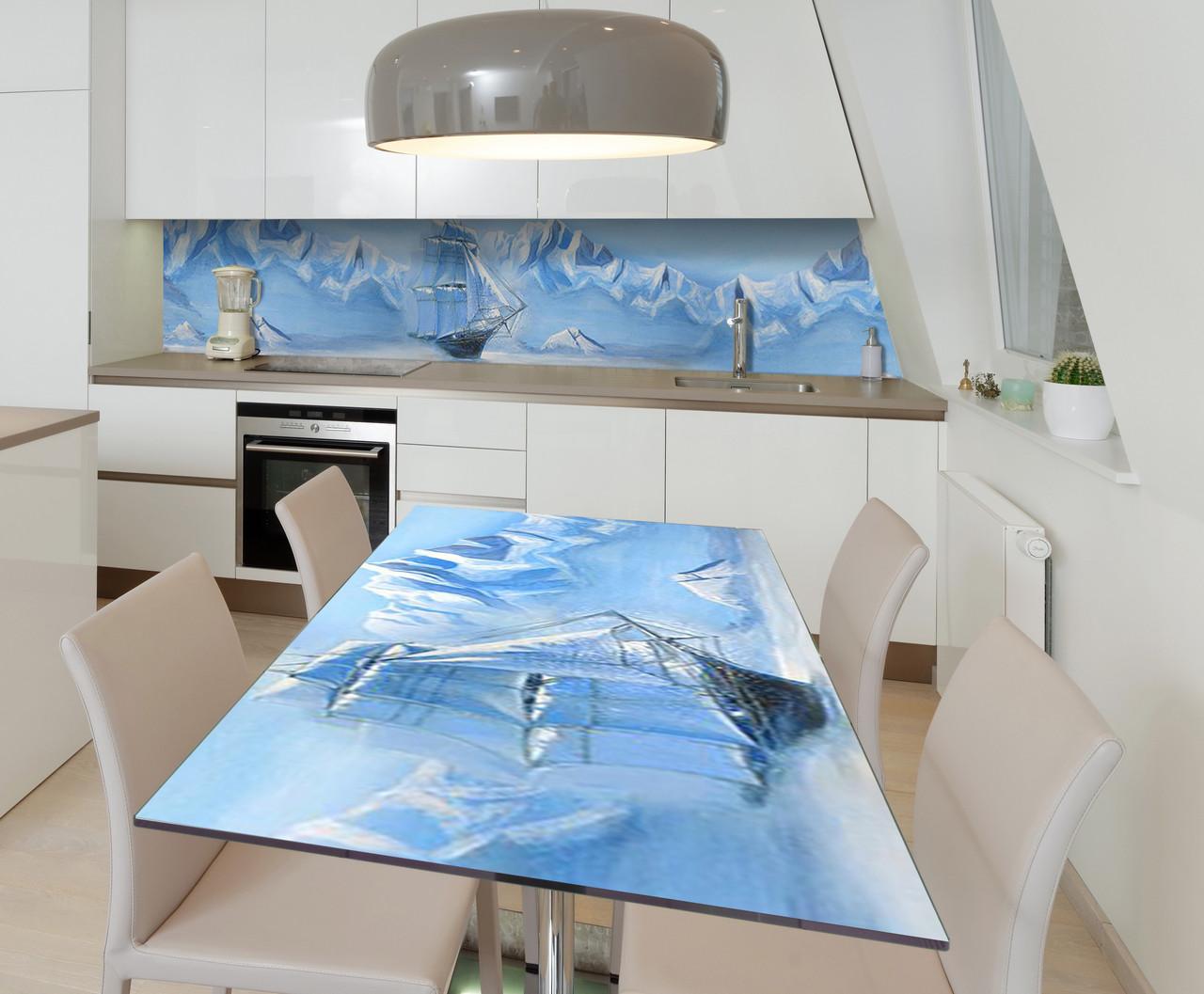 Наклейка 3Д виниловая на стол Zatarga «Ледяное Море Корабль» 650х1200 мм для домов, квартир, столов,