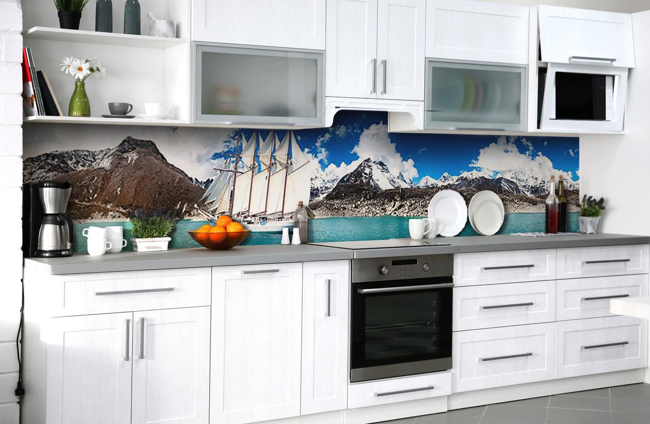 """Скинали на кухню Zatarga  """"Корабль с белыми парусами""""  600х2500 мм виниловая 3Д наклейка кухонный фартук"""