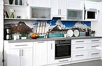 """Скинали на кухню Zatarga  """"Корабль с белыми парусами""""  600х2500 мм виниловая 3Д наклейка кухонный фартук, фото 1"""