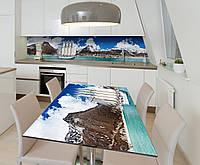 Наклейка 3Д виниловая на стол Zatarga «Корабль с белыми парусами» 650х1200 мм для домов, квартир, столов,, фото 1