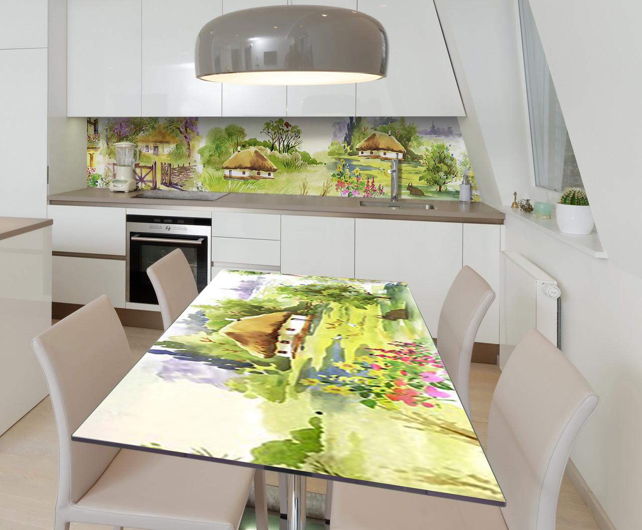 Наклейка 3Д виниловая на стол Zatarga «Шевченкова Хата» 600х1200 мм для домов, квартир, столов, кофейн,