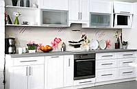"""Скинали на кухню Zatarga  """"Чашка Кофе и Цветы""""  600х2500 мм виниловая 3Д наклейка кухонный фартук для стен,, фото 1"""