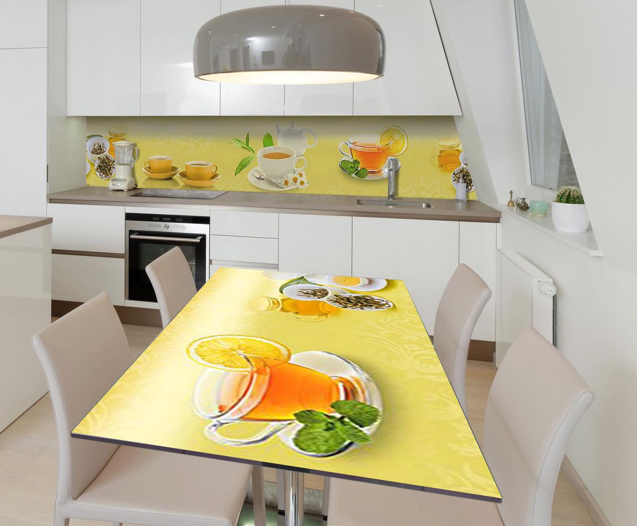 Наклейка 3Д виниловая на стол Zatarga «Чай с Лимоном» 650х1200 мм для домов, квартир, столов, кофейн,