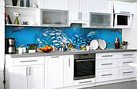 "Скинали на кухню Zatarga  ""Косяки Рыб""  600х2500 мм виниловая 3Д наклейка кухонный фартук самоклеящаяся, фото 1"