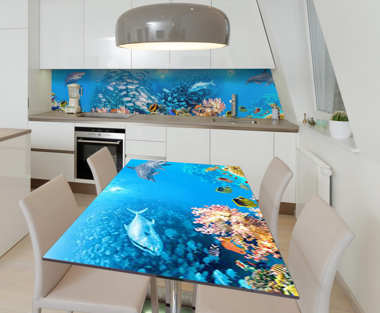 Наклейка 3Д виниловая на стол Zatarga «Косяки Рыб» 600х1200 мм для домов, квартир, столов, кофейн, кафе