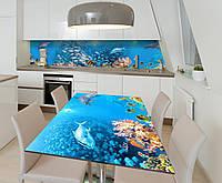 Наклейка 3Д виниловая на стол Zatarga «Косяки Рыб» 600х1200 мм для домов, квартир, столов, кофейн, кафе, фото 1