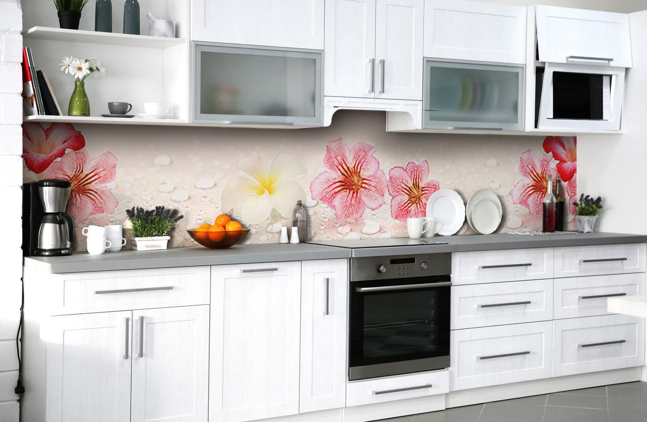 """Скинали на кухню Zatarga  """"Крупные Цветы и капли Воды""""  600х3000 мм виниловая 3Д наклейка кухонный фартук"""