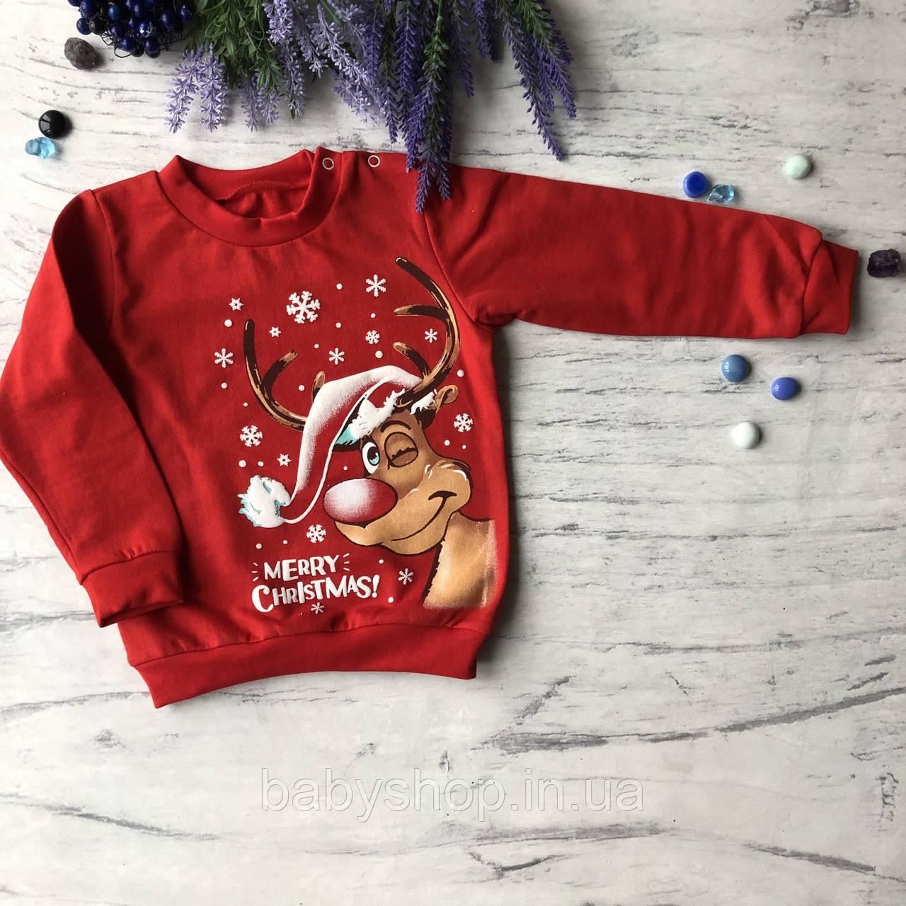 Теплий новорічний джемпер на хлопчика і дівчинку 2. Розміри 92, 98 см, 104 см, 110 см, 116 см, 122 см