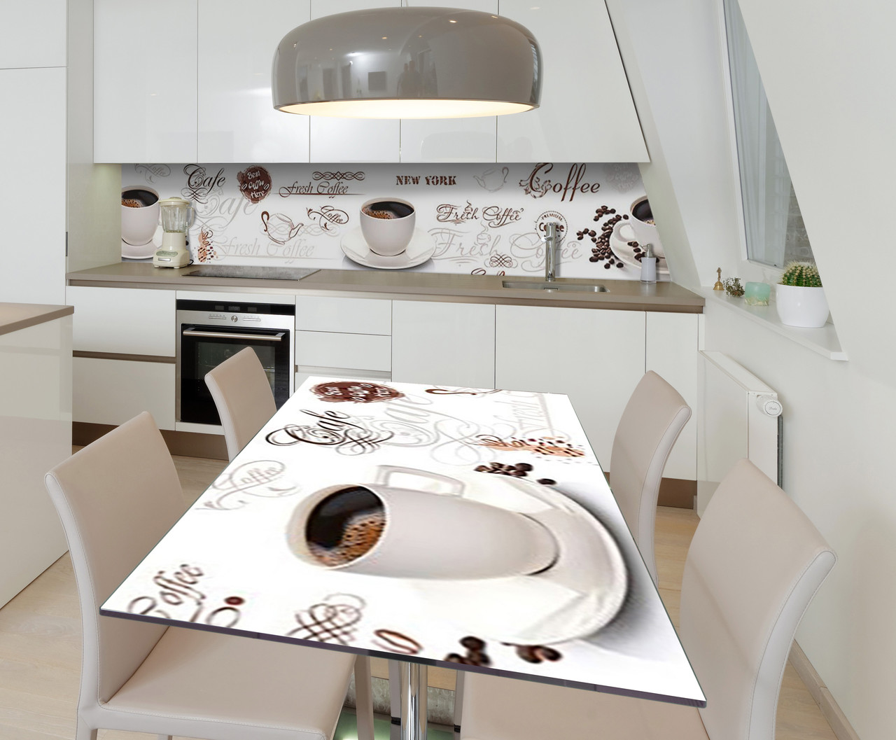 Наклейка 3Д виниловая на стол Zatarga «Кофе с пенкой» 650х1200 мм для домов, квартир, столов, кофейн,