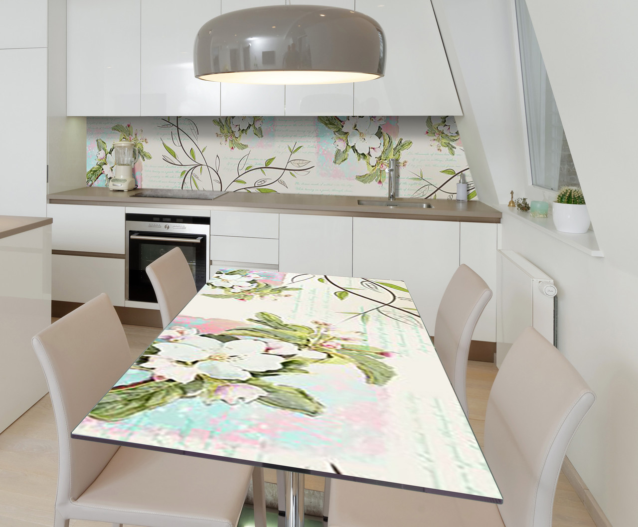 Наклейка 3Д виниловая на стол Zatarga «Цветы яблони Ветви» 600х1200 мм для домов, квартир, столов,