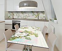 Наклейка 3Д виниловая на стол Zatarga «Цветы яблони Ветви» 600х1200 мм для домов, квартир, столов, , фото 1