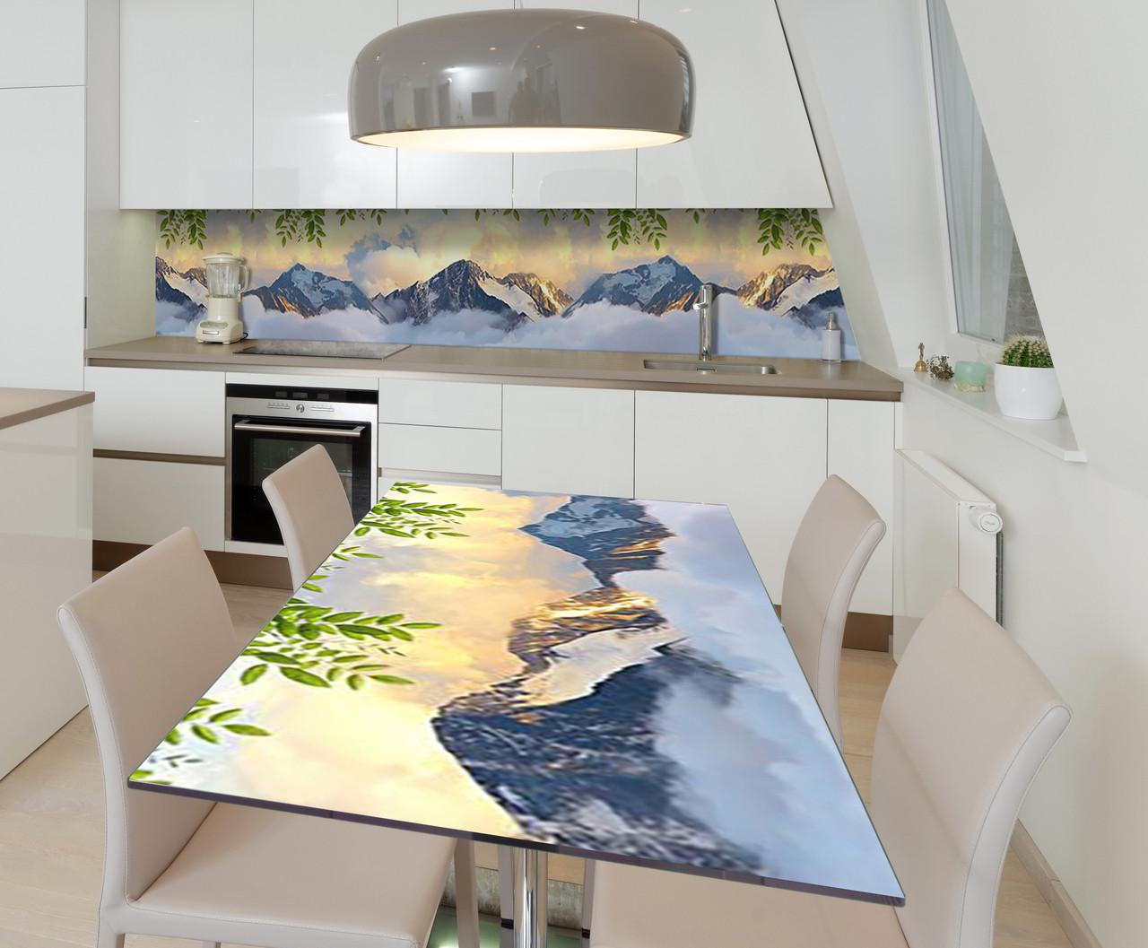 Наклейка 3Д виниловая на стол Zatarga «Горы в Облаках» 600х1200 мм для домов, квартир, столов, кофейн,