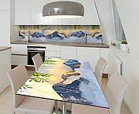 Наклейка 3Д виниловая на стол Zatarga «Горы в Облаках» 600х1200 мм для домов, квартир, столов, кофейн,, фото 1