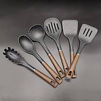 Набір кухонного приладдя Прилади для кухні на стійці 7 предметів Сірі Ополоники на підставці