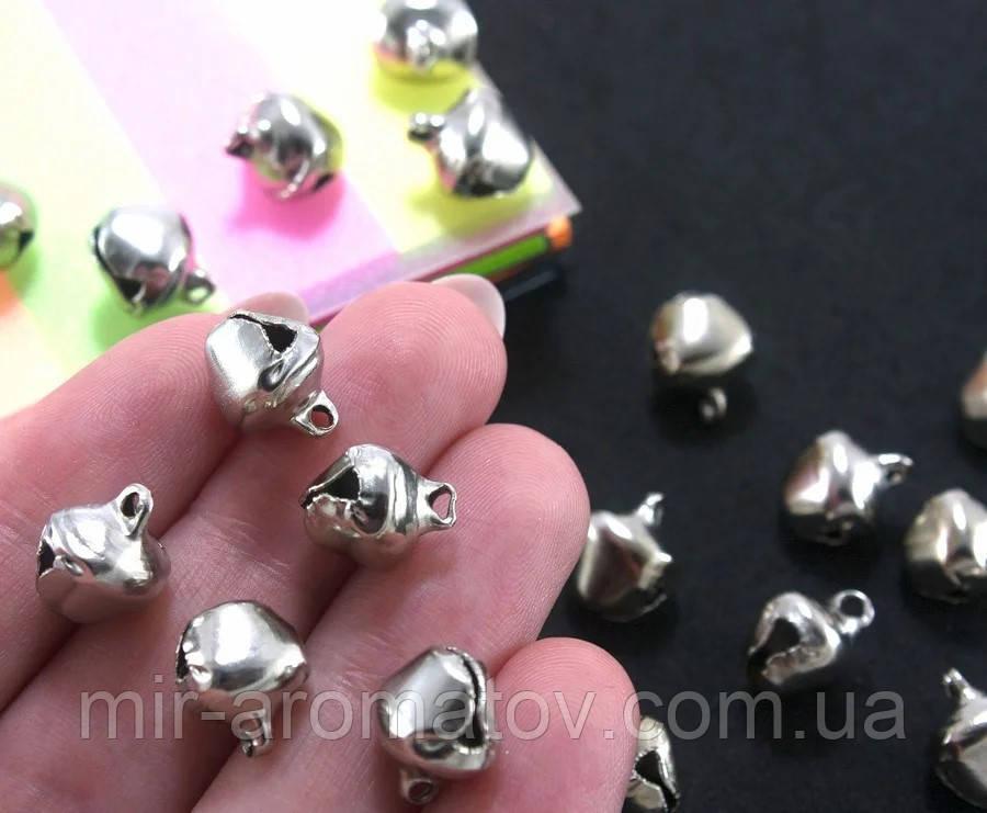 Бубенчики металлические 9 х 8мм  серебро -25шт