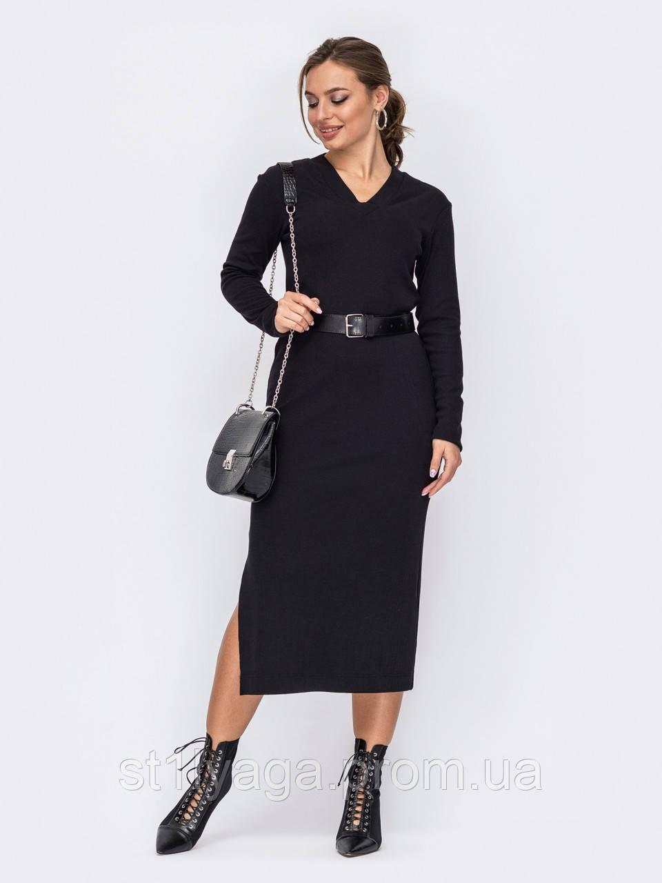 Приталенное платье-миди с длинным рукавом и разрезом сбоку