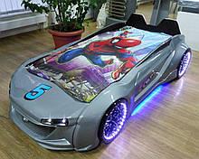 Детская кровать машина Ягуар серая металлик