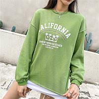 Свитшот женский California, зеленый Berni Fashion (One Size)