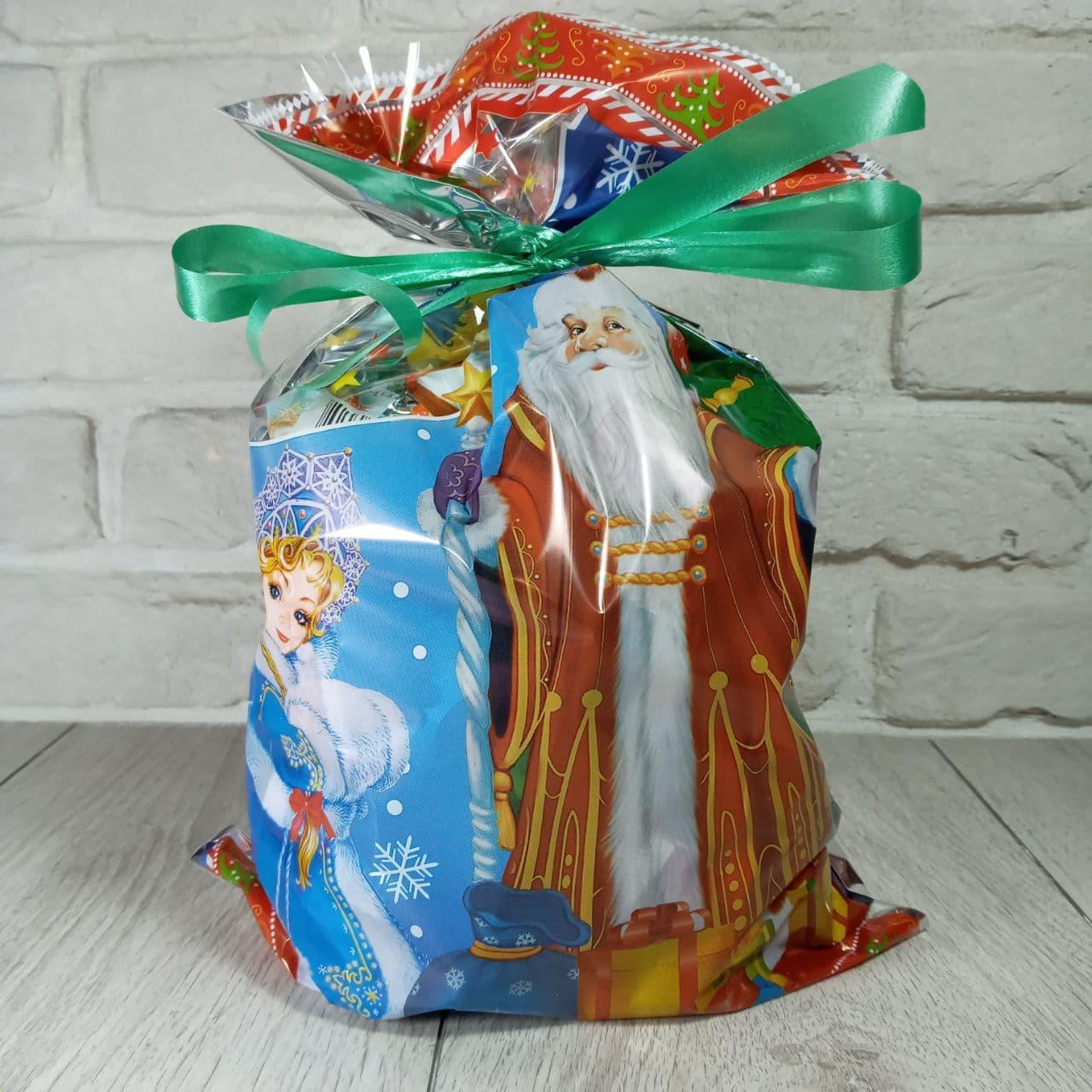 Новогодняя подарочная упаковка для конфет 25см 40см Дед Мороз и Снегурочка 100 шт