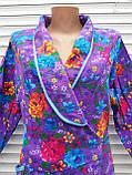 Теплый фланелевый халат на запах 52 размер Пионы, фото 4