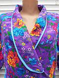 Теплый фланелевый халат на запах 52 размер Пионы, фото 5