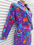 Теплый фланелевый халат на запах 52 размер Пионы, фото 10