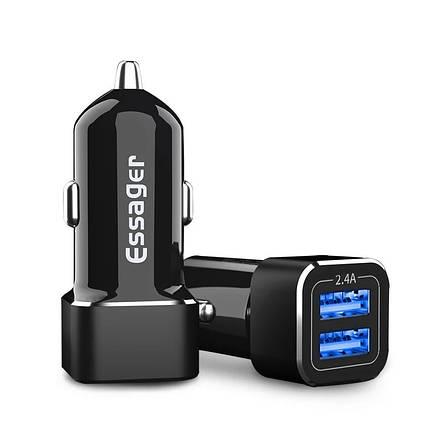 Зарядное устройство в автомобиль Essager, 2 USB, 2.4A (черный), фото 2