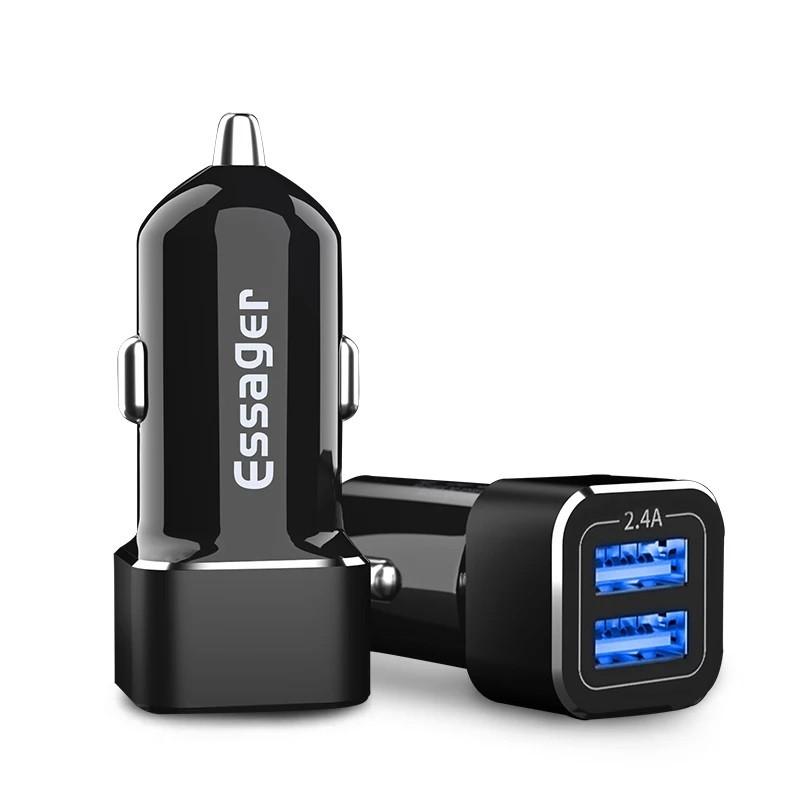 Зарядное устройство в автомобиль Essager, 2 USB, 2.4A (черный)
