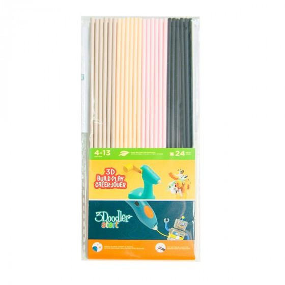 Набор Стержней Для 3D-Ручки 3Doodler Start - Микс (Бежевый, Персиковый, Розовый, Черный) 3DS-ECO-MIX6-24