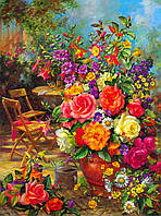 """Принт для вышивки лентами на габардине """"Цветы в саду"""""""